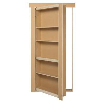 """36"""" Paint Grade Flush Mount Bookcase Hidden Door"""