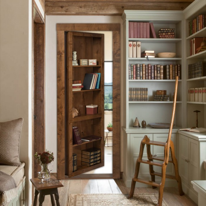 Flush Mount Hidden Bookcase Door & Flush Mount Cabinet Door Package Hidden Door | The Murphy Door