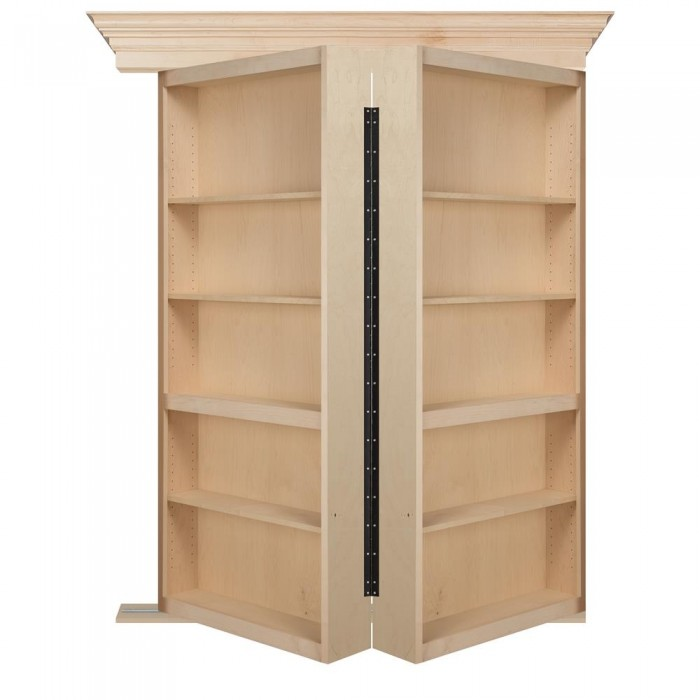 "48"" Unfinished Maple Bifolding Bookcase Hidden Door"
