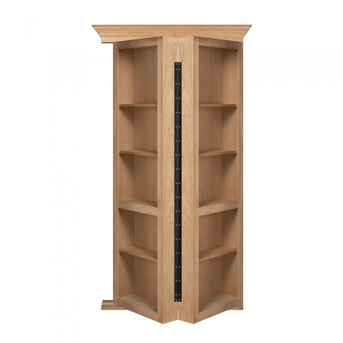 "48"" Unfinished Cherry Bifolding Bookcase Hidden Door"