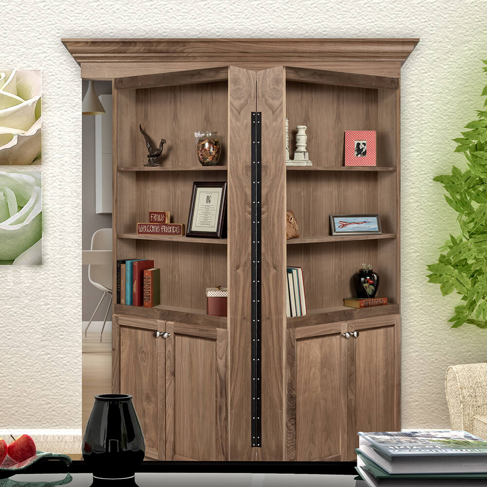 Bi Folding Walnut Surface Mount & Murphy Door Store | Hidden Door Bookshelves Hardware \u0026 More