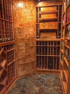 wine cellar with stone floor