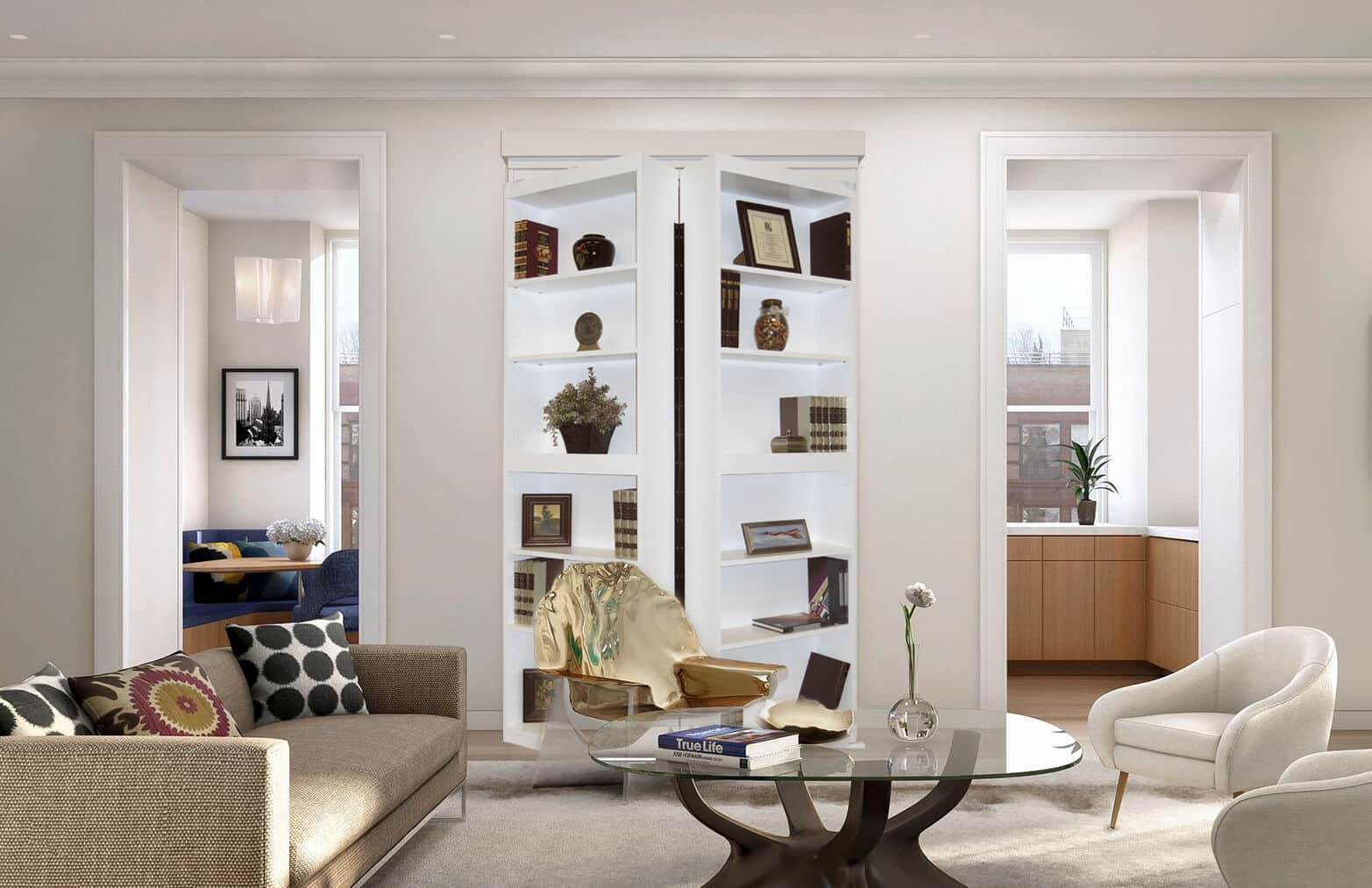 White Surface Mount Bifolding Bookcase Door in Upscale Living Room