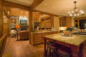 image of a kitchen and living room with an open floor plan