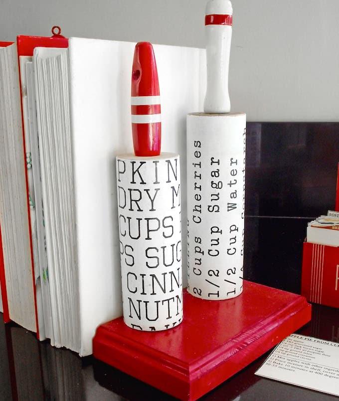 DIY Kitchen Kitsch bookend for bookshelf